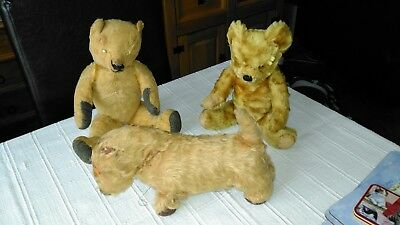 Antique Vintage Teddy Bears and  Dog soft toy.