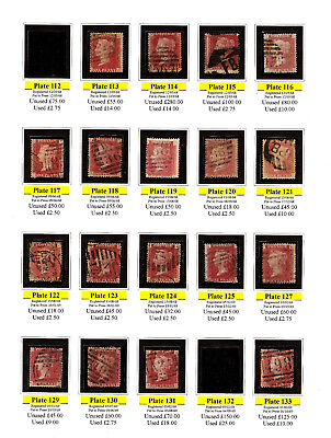 18 PENNY REDS VICTORIA 1868 SG43 PLATES 112 TO 133 MIXED CANCELS V good to fine