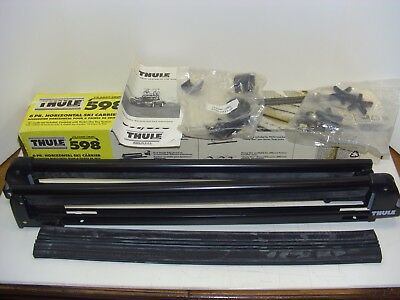"New Clamp-On Thule System 598 28"" Ski/Snowboard Carrier Car Roof Rack w/ clamps"