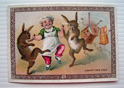 Victorian New Year's Card - Anthropomorphic Dancing Hares & Chef! - Goodall