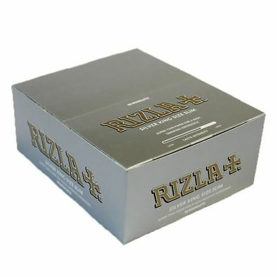 RIZLA SILVER SUPPER THIN king size slim  ROLLING PAPER BOX OF 50 BOOKLETS