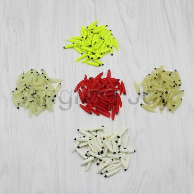 Lot 20 to 100 Soft Plastic Maggot Worm Fishing Lure Grub Carp Trout Fly Bait