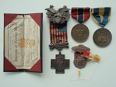 Usa Wonderful Spanish American Group. Nice Medal Grouping. Rare!