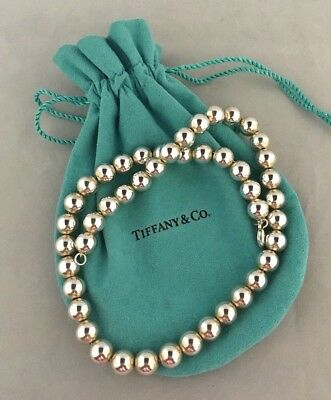 """*look* Authentic Estate Tiffany & Co Sterling Silver 925 10Mm Bead Necklace 18"""""""