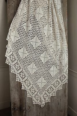 Vintage French hand-made bed cover coverlet off-white cotton 80X90 old