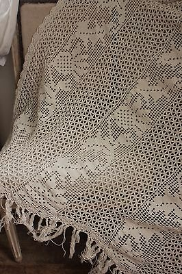 Vintage French Filet lace handmade crochet lace c 1920 w/ fringe textile 52X77