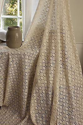 Vintage French hand-made coverlet thread work92X82 curtain bed cover tablecloth