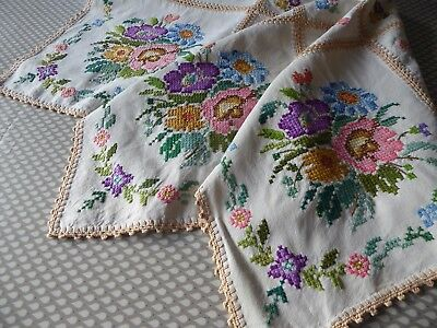 Vintage Hand Embroidered  Linen Tablecloth= Stunning Cross Stitch Florals-Superb
