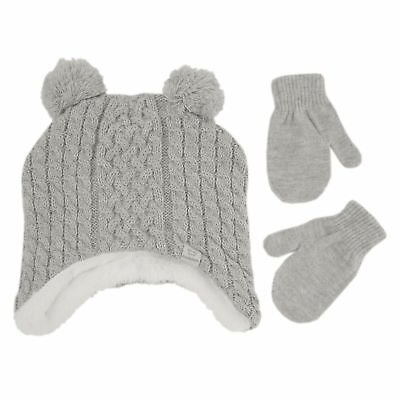 Koala Kids 2 Piece Grey Hat with Mittens Set - Toddler