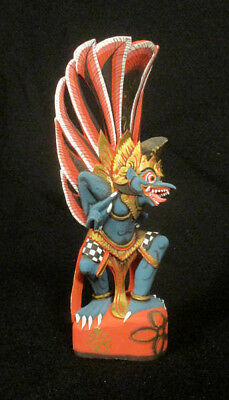 Antique Bali Indonesian Carved Wood & Painted Figure Of Garuda