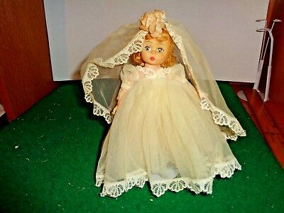 Vintage 1950's Madame Alexander Bent Knee Non Walker 7.5 inch Doll Brides Outfit