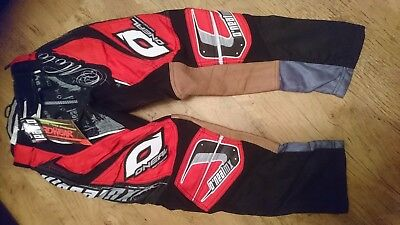 Oneal Hardwear Motocross Trousers Red And Black  Sizes 28 30 Inch  Waist Offroad