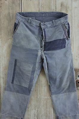 Vintage French work old chore pants denim utilitarian trousers BLUE 38 waist old