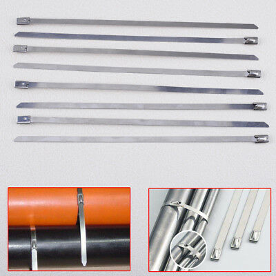 10x Stainless Steel Metal Cable Zip Tie Strap Wrap Exhaust Pipe Header 4.6x200mm