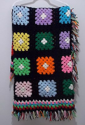 Handmade Crochet Granny Square Afghan 76X47 Inches Black Rainbow #1544