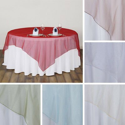 "24 pcs WHOLESALE Lot Sheer Organza 90x90"" SQUARE Table OVERLAYS Wedding Party"