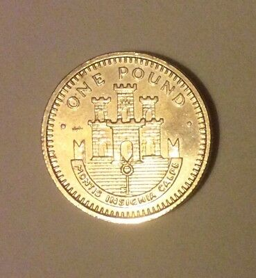 Rare 1988 Gibraltar Coin £1; Castle And Key design.
