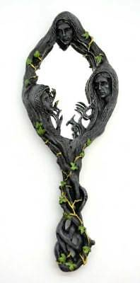 """Maiden Mother & Crone Goddess Tree 12"""" Hand or Wall Mirror Wicca Pagan Sculpture"""