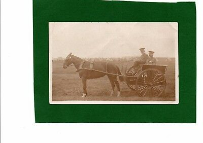 WW1 Postcard Officer & Farrier wearing Medals in Horse & Cart at a Camp