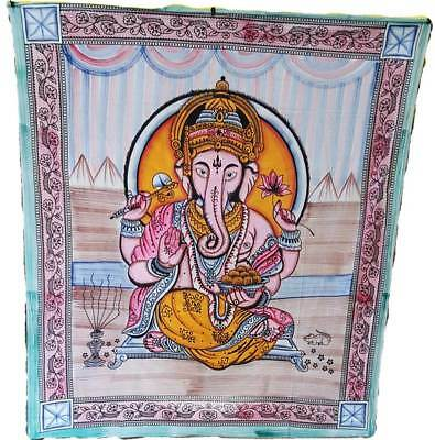 "Large Colorful Lord Ganesha Hindu Elephant God of Success 84x96"" Wall Tapestry"