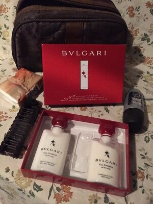 Emirates Amenity Kit Bulgari uomo man pouch trousse beauty suitcase airlines