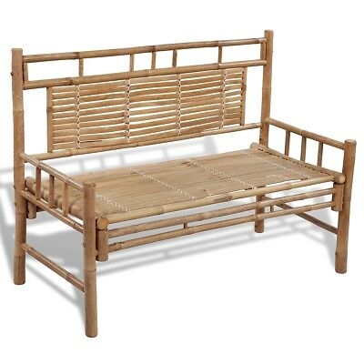 #Bamboo Bench Garden Outdoor Patio Seat Park Backrest Seating Furniture 120cm