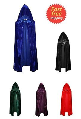 Long Black Velvet Hooded Cloak Medieval Cape Witchcraft Wicca Robe Larp Gothic
