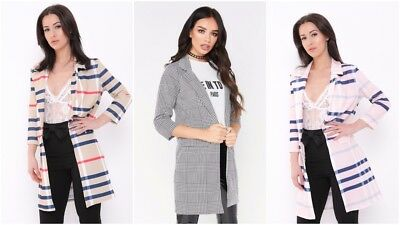 Womens Ladies Longline Check Houndstooth Tartan Duster Casual Blazer Jacket Coat