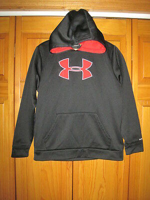 Under Armour Cold Gear Logo hoodie sweatshirt kids boys YLG black football gym