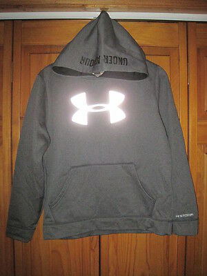 Under Armour Cold Gear hoodie sweatshirt YLG gray running hi-vis fitness