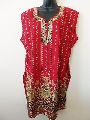 Womens Plus Size Indian Tunic Crepe Top Kurta Kurti Sleeveless Printed