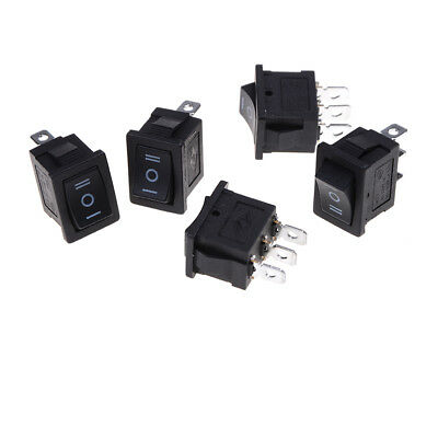 5 pcs SPDT On/Off/On Mini Black 3 Pin Rocker Switch AC 6A/250V 10A/125V  Ci