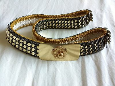 "Vintage Gold & Black metal belt - stretchy scales / chain mail 26"" waist Disco"