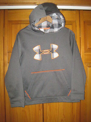 Under Armour Storm Cold Gear logo hoodie sweatshirt boys YLG gray soccer running