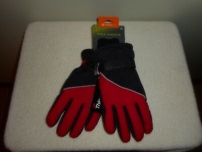 TEK GEAR 3M THINSULATE BOYS SKI GLOVES Blk / Red  Size M/L 8-20