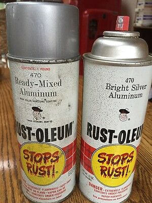 Vintage Lot Of 2 Rust Oleum Paint Cans 470 Ready Mixed/bright Silver Aluminum