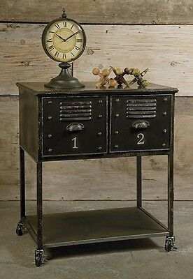 Vintage Style Rolling Two Drawer Serving Cart Accent Table Aged Rubbed Finish