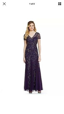 36e52b11ff1 ADRIANNA PAPELL DRESS Gown Size 12 Charcoal Sequin Train -  169.06 ...