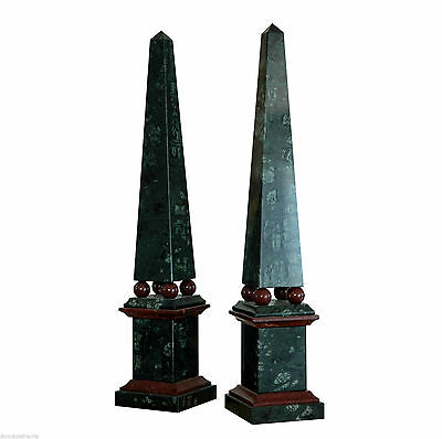 Obelisk in Marble Red and green Alps with Sfere Classic Marble Obelisk H.48 cm