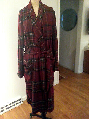 NWOT PENDLETON Country Traditionals  80 Cotton/ 20 Wool Robe LARGE wine plaid