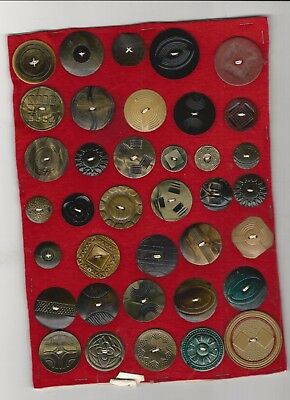 Lot Of 37 Unresearched Vintage Buttons Sewn On Felt With Paper Backing.