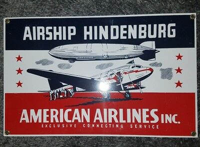 1995 Ande Rooney  Advertising Sign-American Airlines-Airship Hindenburg