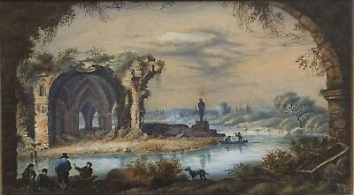 Original Early 19th Century Antique SIGNED French Classical Landscape Painting