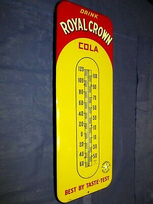 Vintage RC ROYAL CROWN COLA Thermometer Metal Soda Sign WOW!~Super Clean~LQQK!