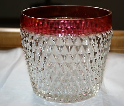 "Indiana Glass ""diamond Point-Ruby Band"" Open Ice Bucket"