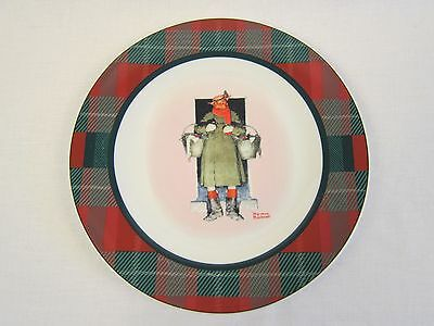 "NORMAN ROCKWELL SATURDAY EVENING POST 10.5"" Plaid DINNER PLATE Merrie Christmas"