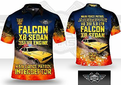 Musclecar Falcon XB Sedan mens polo shirt ( yellow car)