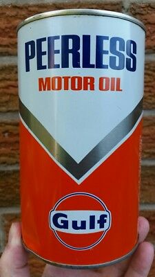 Gulf Peerless Motor Oil Imperial Quart Tin Can End of the Road for BA Canadian