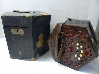 Very Old Concertina In Old Wooden Case - Requires Restoration - Very Rare -L@@k