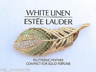 ESTEE LAUDER PEACOCK FLUTTERING FEATHER SOLID PERFUME COMPACT wit SWAROVSKI BNIB